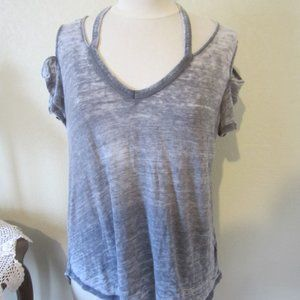 Express Distressed Gray cold shoulder  top M